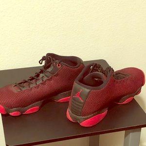 Jordan red retro mesh sneakers